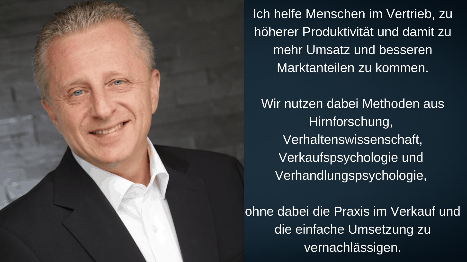 Das Bild zeigt den Inhaber Rolf-Peter Koch und sein Angebotsspektrum: Hirnforschung-Verhaltenswissenschaft-Verkaufspsychologie-Verhandlungspsychologie